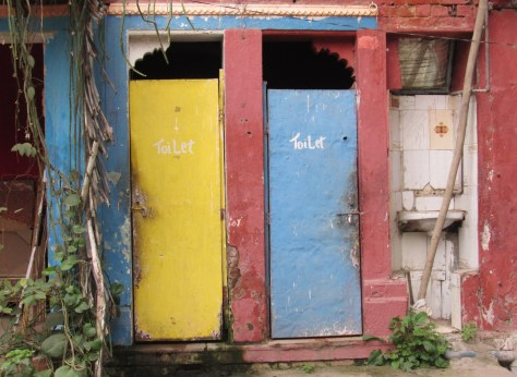 Where else would you find a colourful toilet?